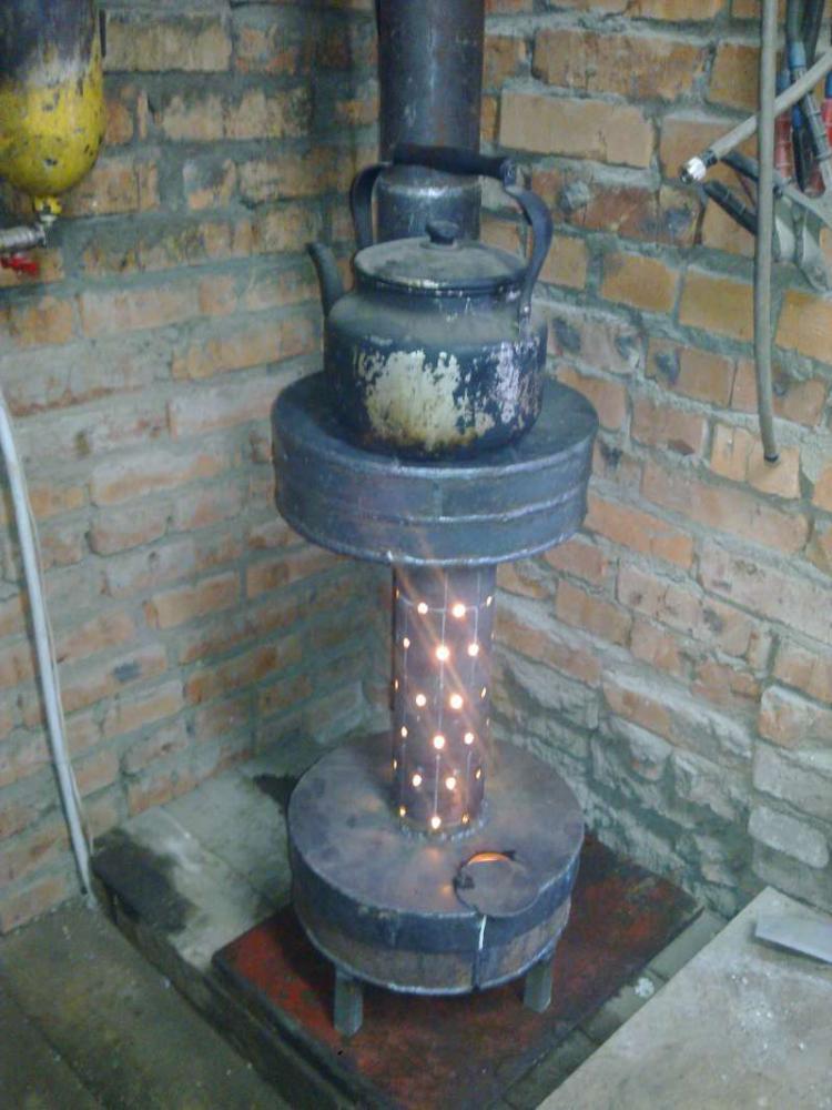 Печка на отработке своими руками из дисков